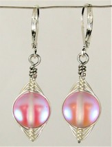 Wire Wrapped Round Rainbow Ab Pink Glass Silver Leverback Earrings Usa Handmade - $6.99