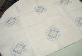 Vintage White and Blue Table Cloth and Napkin Set - $55.00