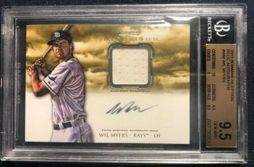 Primary image for WIL MYERS 2013 Bowman Inception Relic Autographs BGS 9.5 Rays AUTO 10 RC B13