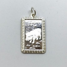 NEW .990 Sterling Silver Year of the Pig Rectangular Lucky Pendant - $23.36