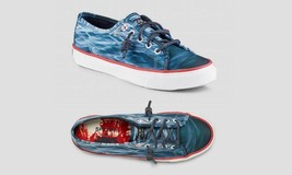 Sperry JAWS Waves Leather Laces Lifesaver Buoy Eyelet Boat Shoes  WMS NWOT - $48.99
