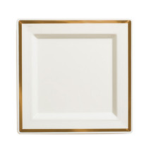 Imperial 8 Inch Ivory Plastic Square Plate with Gold Band/Case of 120 - £73.40 GBP