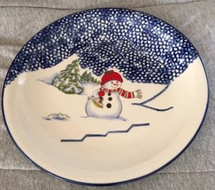 "Thomson Pottery Snowman 10 1/4"" Round Dinner Plate Retired Pattern - $11.87"