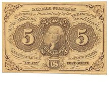PC5, FR1230 5c Postage Currency, First Issue, 1862, Civil War, Imperforate - $89.99