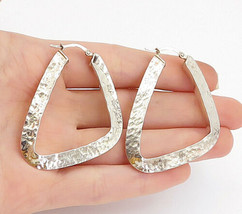 925 Sterling Silver - Vintage Shiny Hammered Texture Hoop Earrings - E9062 - $48.64