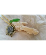 Paradise Found necklace: Green Hawaiian sea glass, coral golden wirework... - $45.00