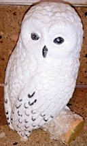 "Snowy Owl On Stump Branch Glittery Statue Figurine 10"" - $25.73"