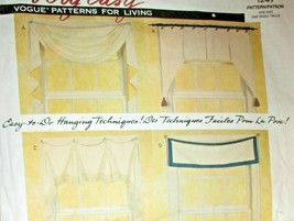 Vogue Sewing Pattern 1247 For Living Very Easy Window Treatments Uncut Valance - $8.66