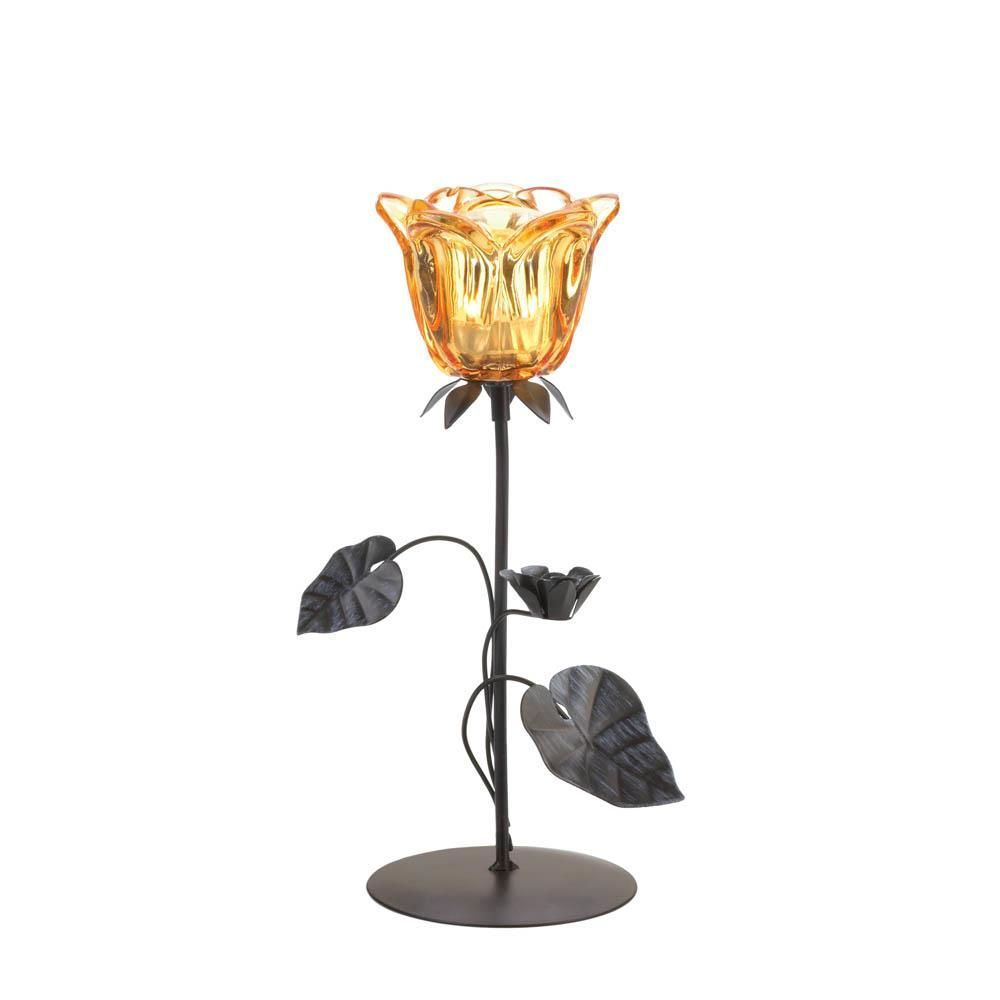 Amber Floral Iron Candle Holder Available in Single or Double Flowers