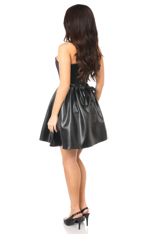 Black Steel Boned Strapless Faux Leather Dress