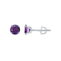 Solitaire Round Stud Earring 925 Sterling Silver With Purple Amethyst Ge... - $35.00