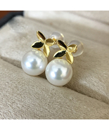 Akoya pearls stud drop earrings with 18K gold latest design women wedding gift - $340.78