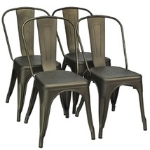 4 Pcs Modern Bar Stools with Removable Back and Rubber Feet-Gun - Color:... - $253.42