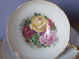 Vintage England pink yellow rose bone china tea cup teacup and saucer - $58.41