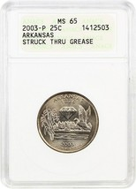 2003-P Arkansas 25c ANACS MS65 (Struck Thru Grease) - Statehood Quarter - $29.10