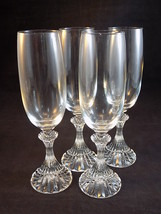 4 MIKASA Fluted CHAMPAGNE CRYSTAL GLASSES THE RITZ TS400 / 007 IN THE BOX - $38.60