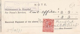 Note Moffat Cottage Hospital Cancel 1931 Nurse Services Stamp Receipt Re... - $7.59