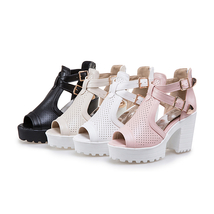 2018 Summer 34 Sand Shoes Size Heels Women Square Big KarinLuna High 43 Fashion dS4wdPqn