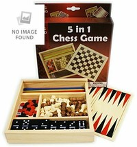 5-in-1 Wooden Board Game Set Chess Checkers Dominoes Pick Up Sticks Back... - $15.41