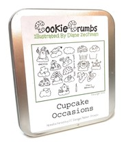 Cookie Crumbs Rubber Stamp Set Cupcake Occasions 2008 Diane Zechman Peng... - $14.84