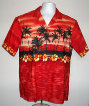 EUC MENS ROYAL CREATIONS HAWAIIAN SHIRT LARGE RED PALM TREES ALOHA HIBIS... - $27.67