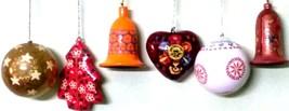 6pc pack Christmas decoration ornaments paper mache bells heart tree balls - $82.06