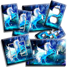 MAGICAL WHIMSICAL FANTASY BLUE UNICORN LIGHT SWITCH OUTLET WALL PLATE RO... - $8.99+