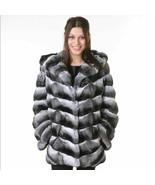 Chinchilla Fur Coat Hooded   Women's Brand New COPENHAGEN - $4,158.00