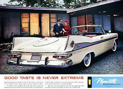 "Primary image for 1959 Plymouth Fury ""Good Taste Is Never Extreme"" Promotional Advertising Poster"