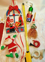 6 Vintage Christmas Ornaments Santa In Window, Tin Soldier, Straw Broom, Horns