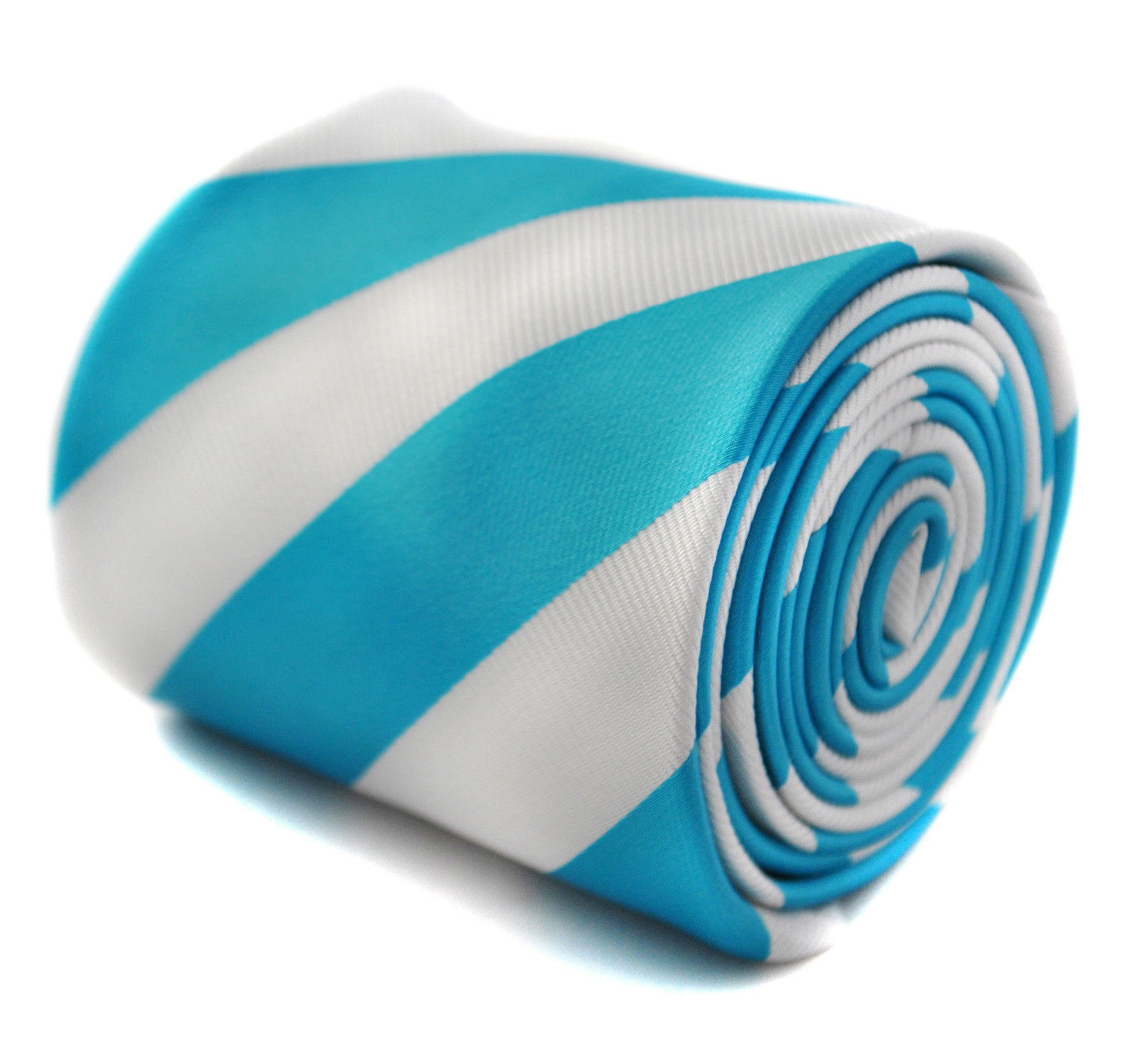 Frederick Thomas turquoise and white barber striped mens wedding tie FT1757