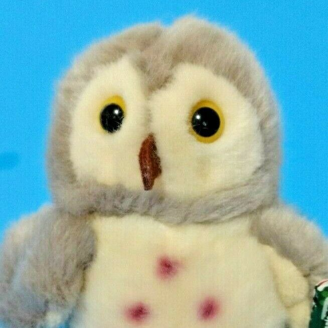 Wild Republic Owl 4.5 inch Gray Plush Stuffed Animal Spotted Mini Fuzzy Bird