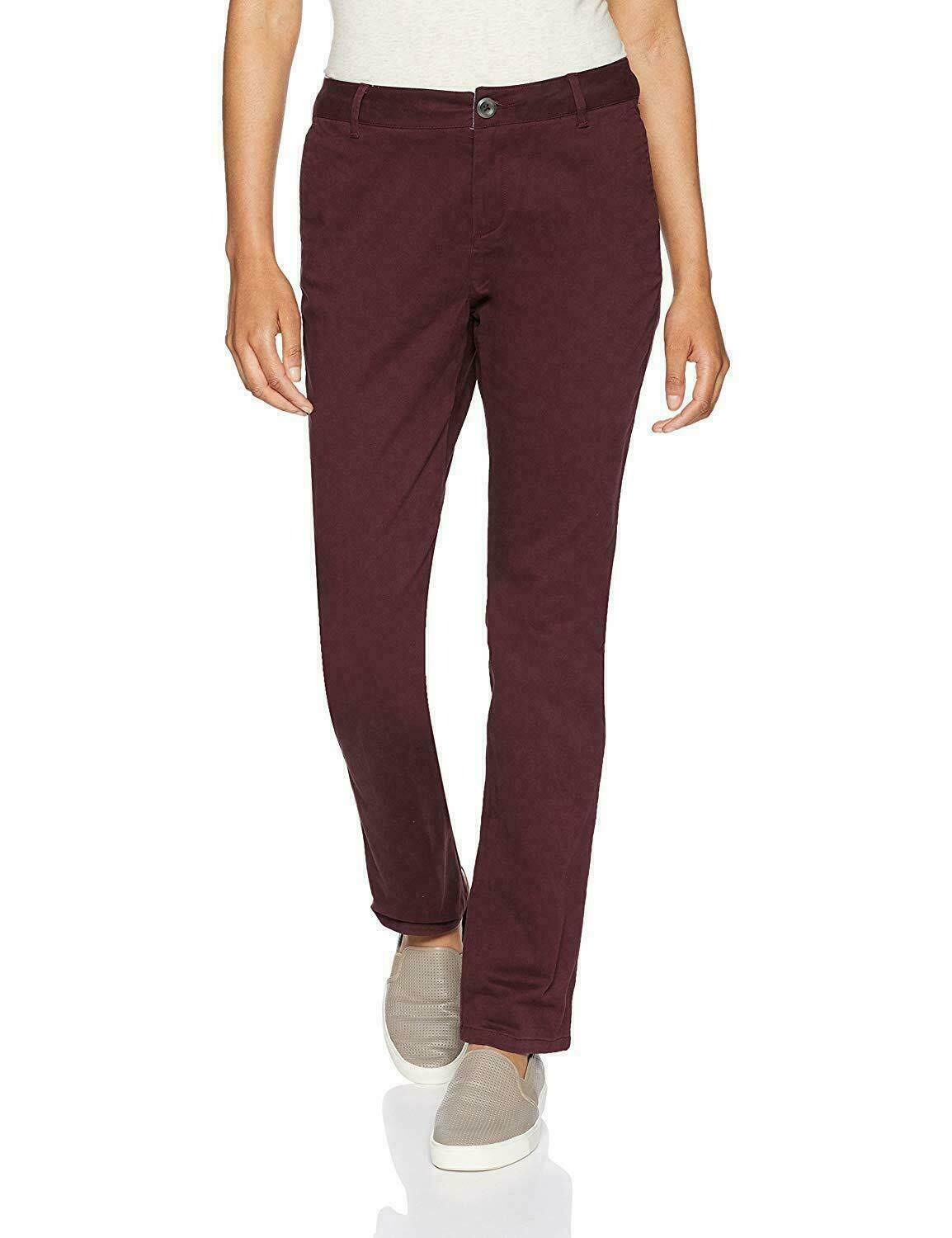 Primary image for Amazon Essentials Women's Straight-Fit Stretch Twill Chino Pant Burgundy Red 2