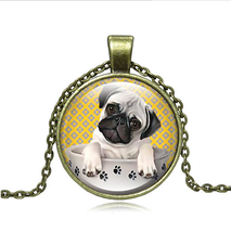 << CUTE PUG PUPPY IN BOWL CABOCHON NECKLACE >>    WE COMBINE SHIPPIN - $4.70