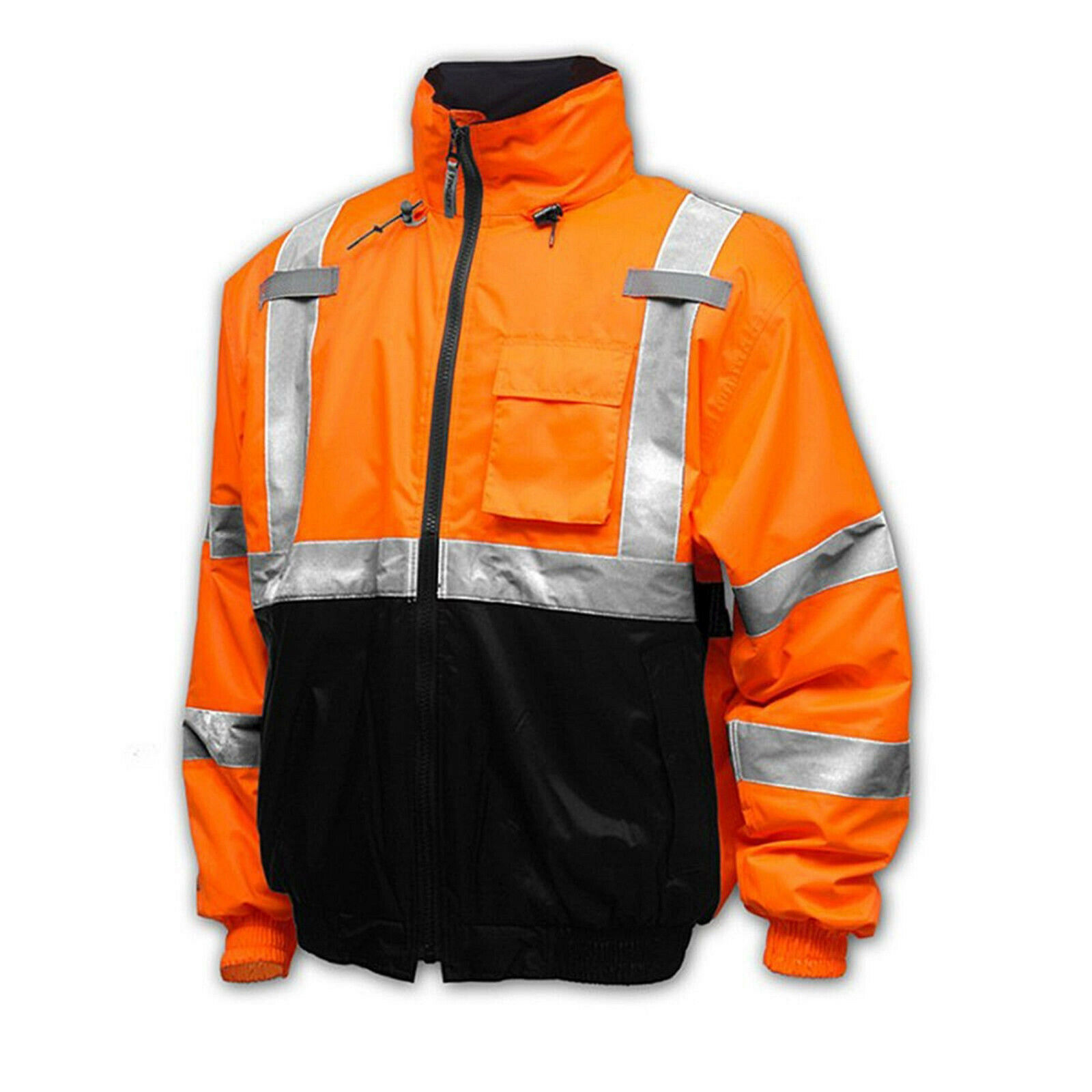 Men's Class 3 Safety High Visibility Water Resistant Reflective Neon Work Jacket image 7