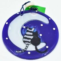 Fused Art Glass Cats Cuddling on Moon Ornament Handmade in Ecuador image 1