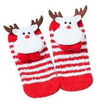 Four Pairs Cute Socks Christmas Socks Coral Velvet Floor Socks Children Socks