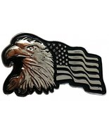 Proud Eagle Head with an American Flag Waving next to it has a Shiny Nic... - $6.88