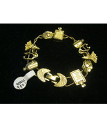 MEDICAL Charm BRACELET in Gold-Tone signed TOFA 1995 - 7 inches - $45.00