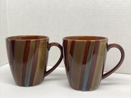 Lot Of 2~Sango Avanti Brown Coffee Cup Mug Stoneware Stripes Sand Retire... - $9.90