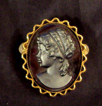 "Black Cameo Scatter Pin Victorian Style Brooch 1 1/ 2"" long Vintage Gold Plated - $19.76"