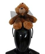 Dolce & Gabbana Brown Teddy Bear Gold Crystal Diadem 114 - $305.44