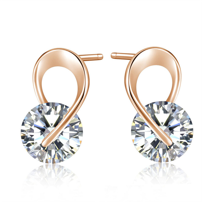 Primary image for Fashion Luxury Clear Crystal Earring Silver Rose Gold Color Hip Hop Stud Earring