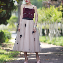 Handmade Champagne Tulle Skirt Outfit High Waisted Tulle Skirt Princess Skirt image 1