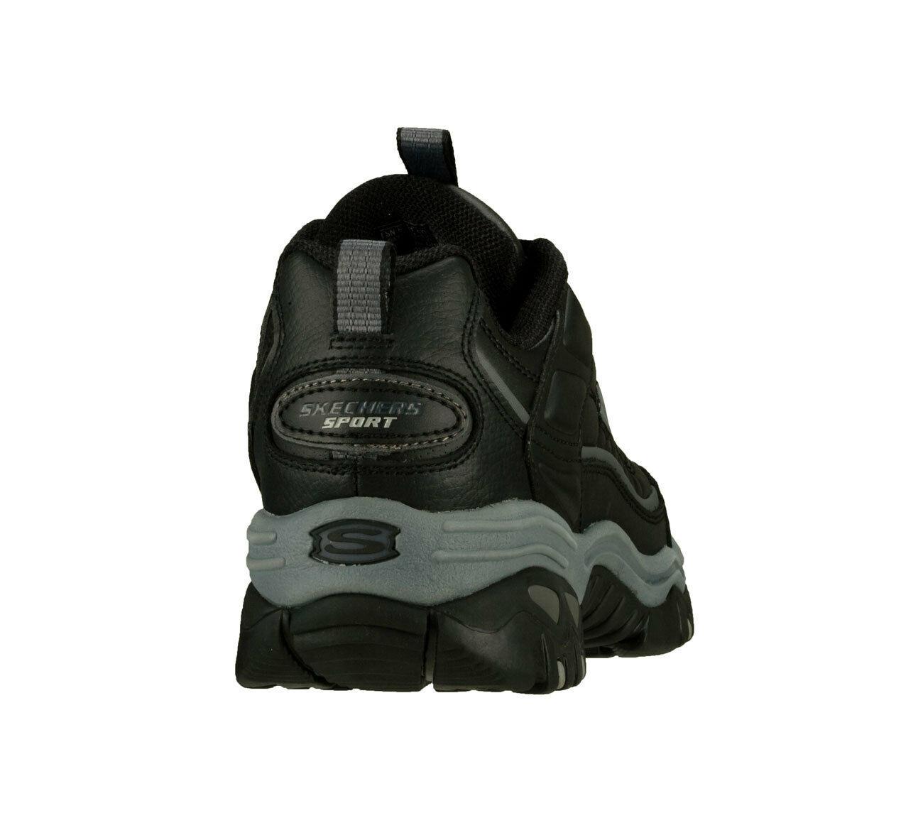 Skechers Black EW Wide Width shoes Men New Sport Train Leather Sneaker 50081 BBK