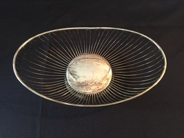 Vintage 80s Silver Plate Oval Wire Basket by International Silver Co.  image 2