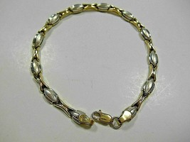 """Unique Heavy Yellow & White Gold Stampato Link Bracelet 7.25"""" 5g Beautiful - $261.89"""
