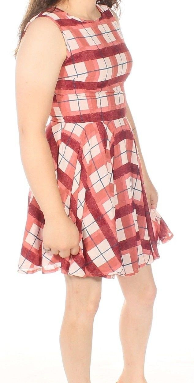 MAISON JULES Dusty Rose Plaid Fit & Flare Retro Dress Size Large