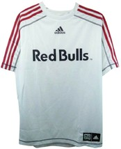 New York Red Bulls MLS Adidas Soccer Jersey White w/ Red Stripes Shirt M... - $19.99