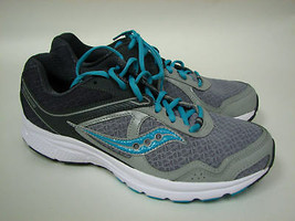Saucony Grid Cohesion 10 Grey / Blue Running Shoe 15333-22 Womens Sz 11 New - $50.44